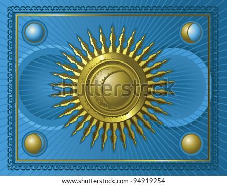 Sun astrology card - stock vector