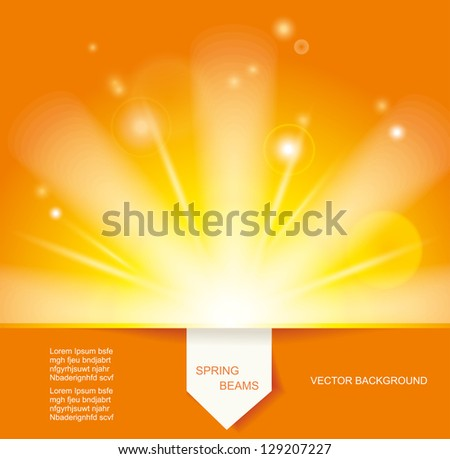 Sun Beams with Orange Yellow Blurred and Paper Sticker - stock vector