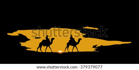 Sun down in desert. Camels on sand. - stock vector