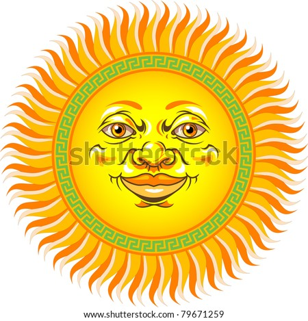 Sun Face - stock vector