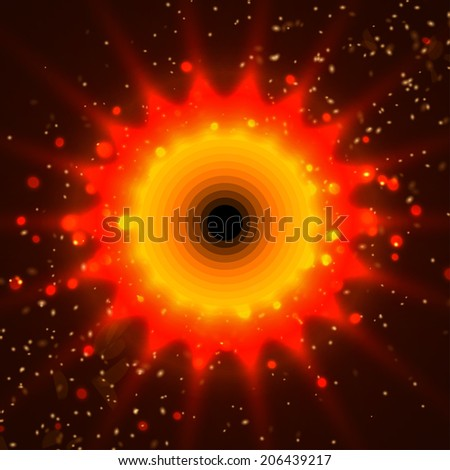 Sun fire and bokeh background vector illustration - stock vector
