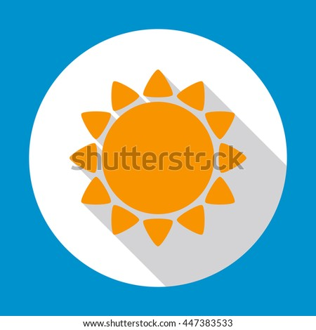 Sun flat icon yellow color with long shadow on white background with blue decoration. Vector illustration. EPS 10. - stock vector