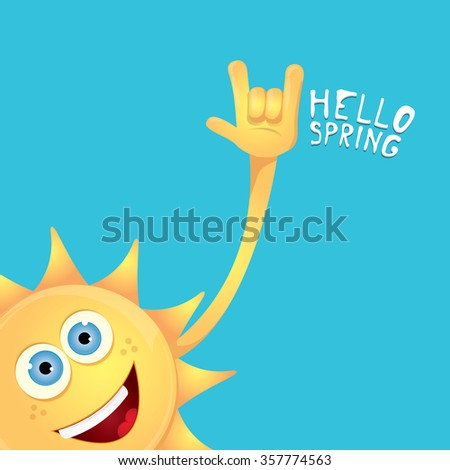Sun hand rock n roll icon vector illustration. Spring or summer Rock concert poster design template or greeting card - stock vector