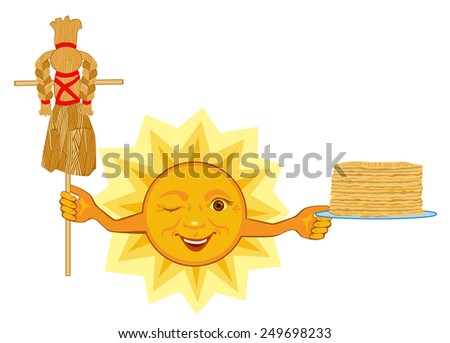 Sun holds a plate with pancakes and celebrates the feast of Shrovetide - stock vector