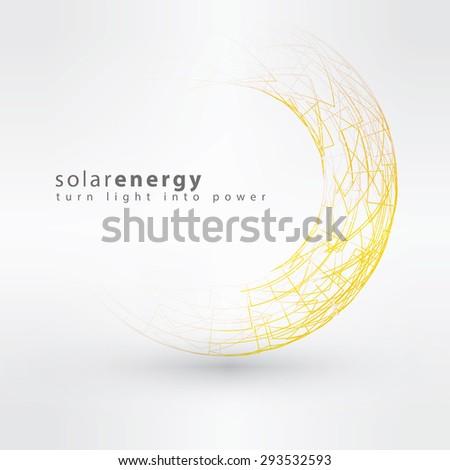 Sun icon made from power symbols. Solar energy logo design concept. Creative sign template. - stock vector