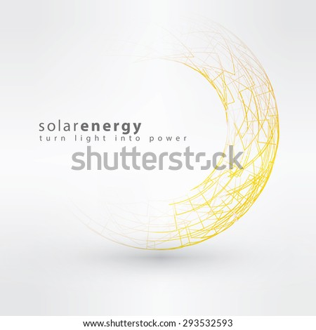 Sun icon made from power symbols. Solar energy logo design concept. Creative summer sign template. Sun power and Solar energy - stock vector