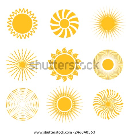 Sun icon set. Abstract and unusual sun icons. Vector illustration - stock vector