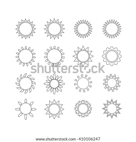 Sun icon set, vector illustration, line design - stock vector