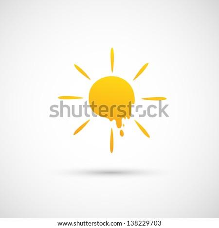sun icon vector - stock vector