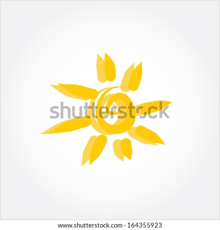 sun icon vector - stock vector