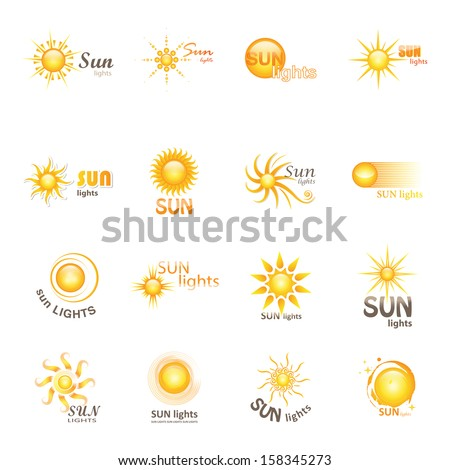 Sun Icons Set - Isolated On White Background - Vector Illustration, Graphic Design Editable For Your Design.  - stock vector