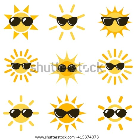 sun icons with black sunglasses - stock vector