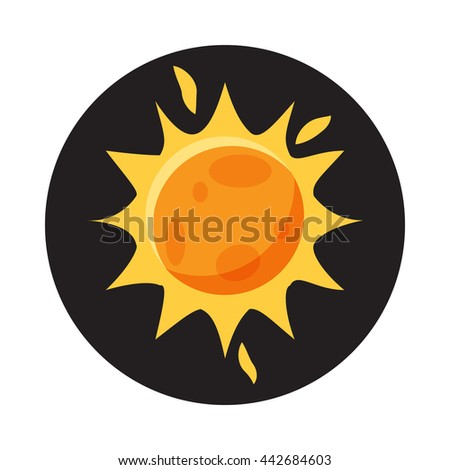 Sun in space icon in cartoon style on a white background - stock vector