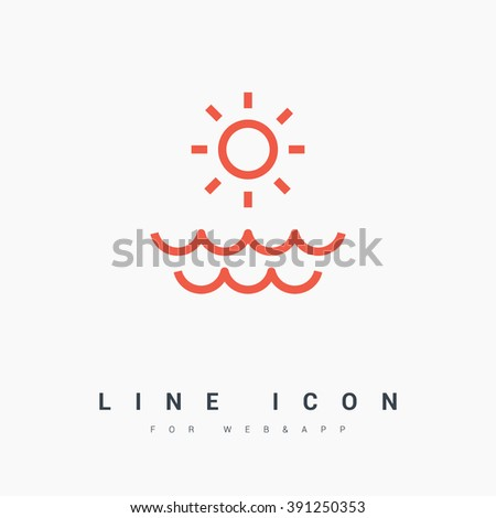 Sun isolated minimal single flat linear icon for application and info-graphic. Sea line vector icon for websites and mobile minimalistic flat design. - stock vector