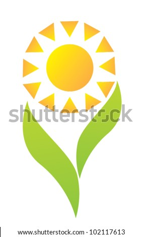 Sun logo vector with green leaves - stock vector