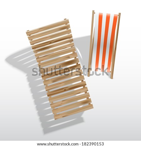 Sun loungers, isolated on white background - stock vector