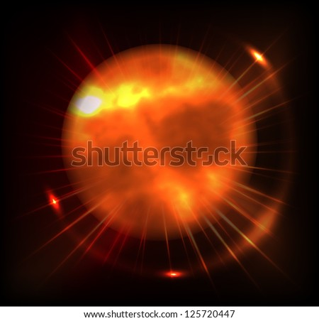 Sun on a black background. - stock vector