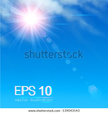 Sun on cloudy blue sky with lenses flare - vector illustration. - stock vector