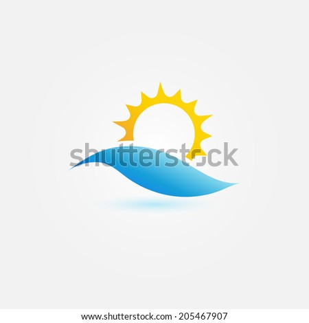 Sun on the wave vector symbol - abstract sea sunset icon - stock vector