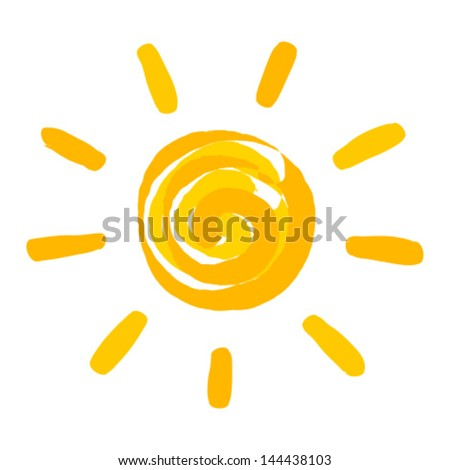 Sun painted. Vector illustration - stock vector