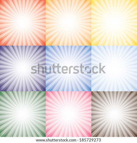 Sun rays collection set of vector background in different seasons. The graphic represents sunshine against colorful sky background in colors like orange, yellow, blue, pink, red - stock vector