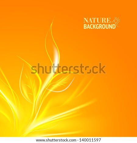 Sun rays pass through the orange leaves. Vector illustration, contains transparencies, gradients and effects. - stock vector