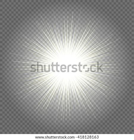 sun rays  warm light effect, sun rays, beams on transparent background. Vector illustration. - stock vector