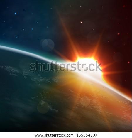 Sun rising over the earth, eps10 - stock vector