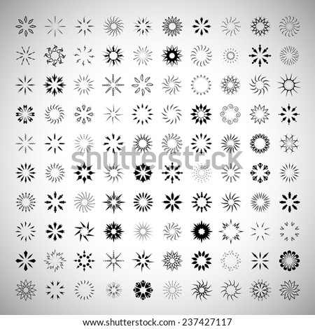 Sun's Rays Icons Set - Isolated On Gray Background - Vector Illustration, Graphic Design, Editable For Your Design   - stock vector