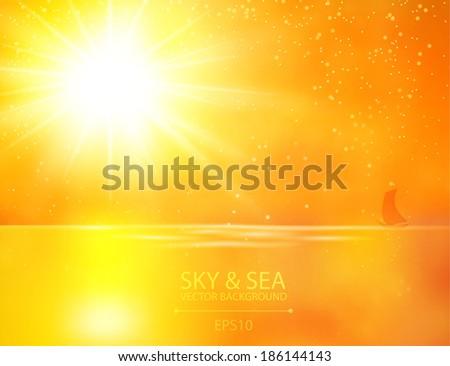 sun & sea gold background - stock vector