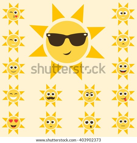 sun set with funny smiley faces - stock vector