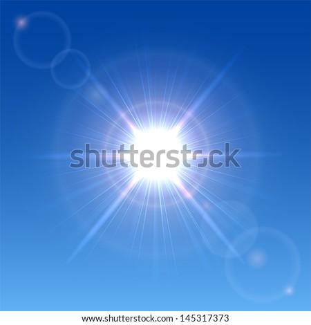 Sun shining in a clear blue sky, illustration. - stock vector