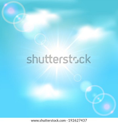Sun shining in blue sky with clouds, illustration. - stock vector