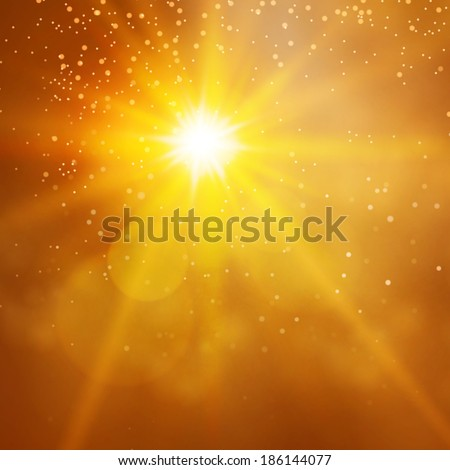 sun & space gold background - stock vector