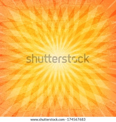 Sun Sunburst Grunge Pattern. Vector illustration - stock vector