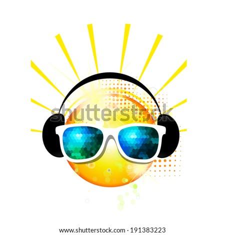 sun sunglasses. Vector  - stock vector