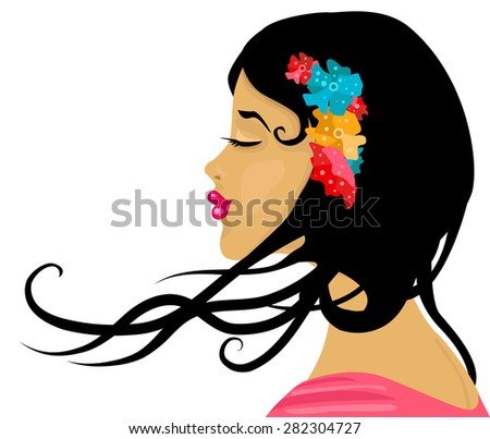 Sun tanned girl with flower in her hear - stock vector