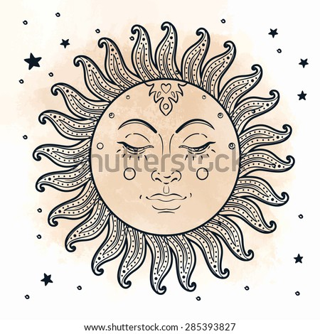 Sun. Vector illustration in vintage engraving style. - stock vector
