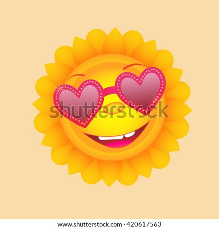 Sun with heart glasses. Cute vector icon. - stock vector