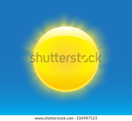 Sun with nice realistic rays. Vector illustration - stock vector