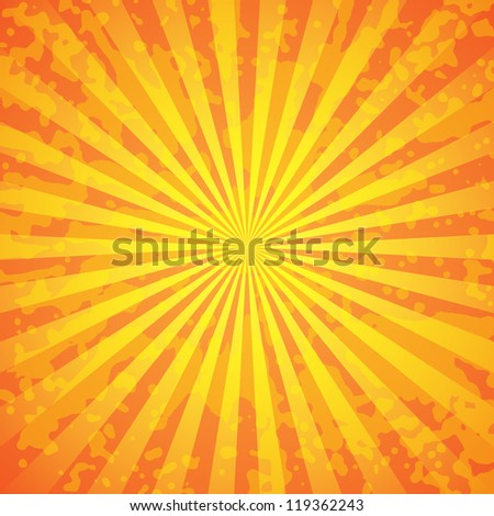 Sun with rays illustration, old paper with stains - stock vector