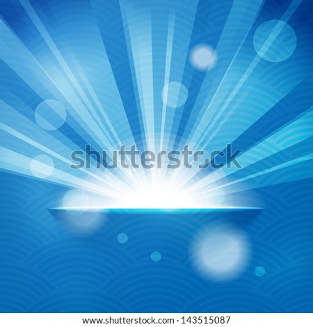 sun with rays on blue background - stock vector