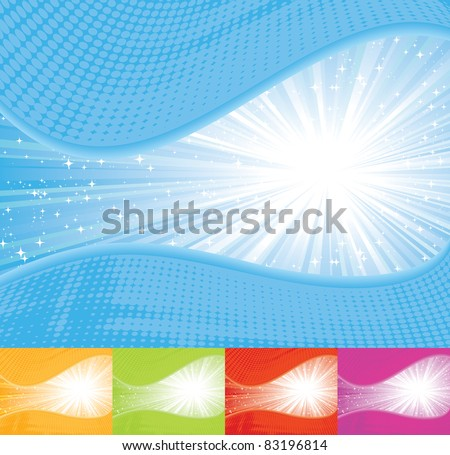 Sunbeam wavy background. EPS 8 CMYK with global colors vector illustration. - stock vector
