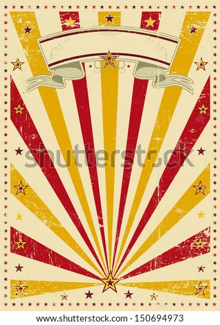 sunbeams trendy color background. A vintage poster with a texture. - stock vector