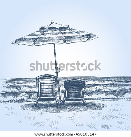 Sunbeds and umbrella on the beach. Summer holiday drawing - stock vector