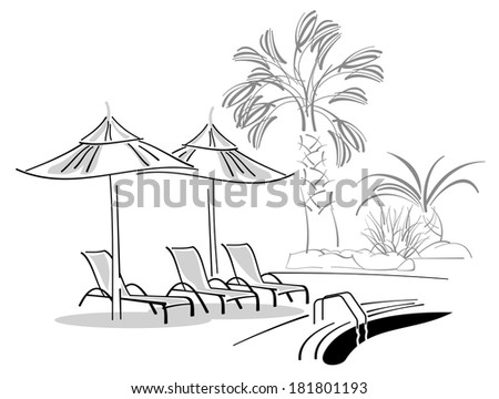 Sunbeds and umbrellas near swimming-pool - stock vector