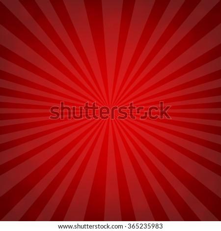 Sunburst Red Retro Poster With Gradient Mesh, Vector Illustration - stock vector