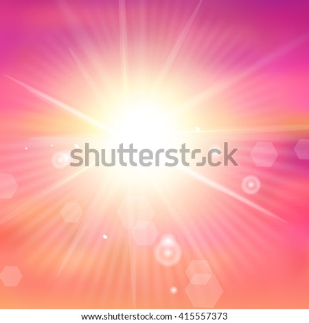 Sunburst with sun flare. Colorful sunset or sunrise. Vector illustration - stock vector