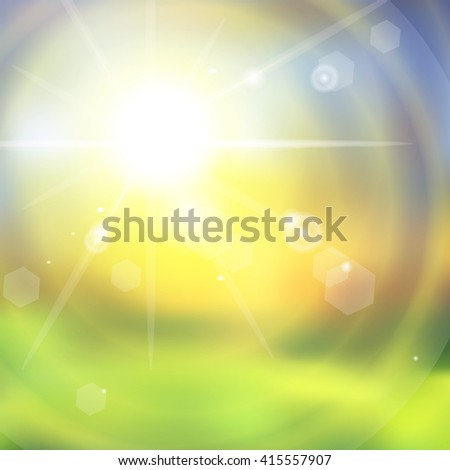 Sunburst with sun flare with green grass. Colorful sunset or sunrise. Vector illustration - stock vector