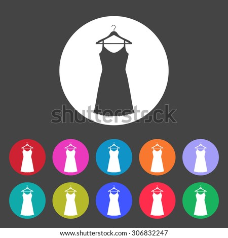 Sundress, Evening dress, combination or nightie on the wardrobe hanger , the silhouette. Menu item in the web design. Set of colored icons. - stock vector